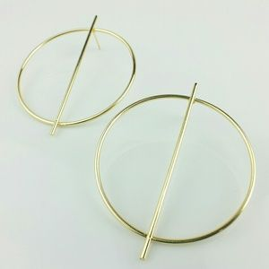 NEW Golden Big Bar Hoop Earrings